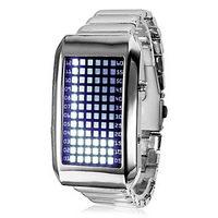 Светодиодные бинарные часы 72 LED и стальным браслетом