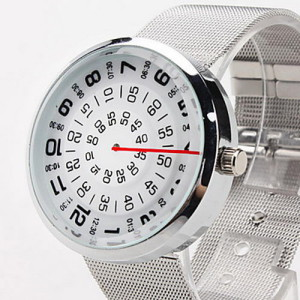Часы с вращающимся циферблатом и неподвижной стрелкой!