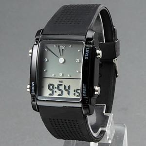 Электронные наручные LCD часы с двумя циферблатами